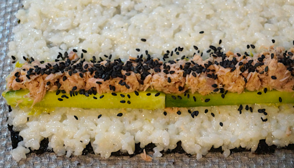 Sushi-Rolle offen